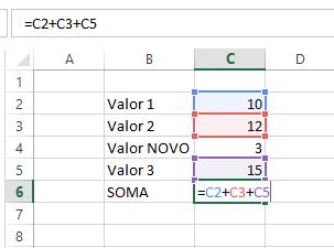 como calcular soma no excel 3